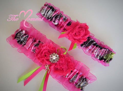 Hot Pink Camo Garter Set, Sassy B Pink True Timber Garter, camo wedding, Prom Garter