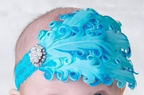 Newborn Feather Headband, Feather Headband, Baby Headband, Newborn Photo Prop Headband, Little Girl Headband
