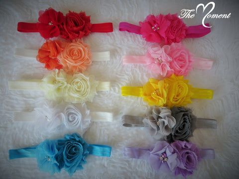 Shabby Chic & Chiffon Flower Headband, Baby Headband, Newborn Photo Prop Headband, Child Headband, Little Girl Headband, Chiffon Flower Headband