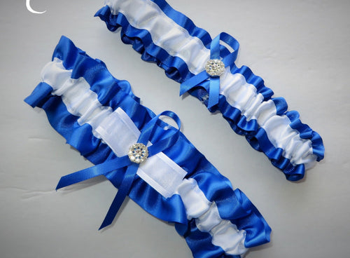Blue and White Garter Set
