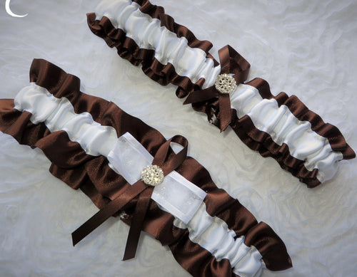 Brown and White Garter Set