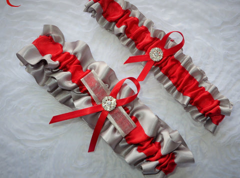 Gray and Red Garter Set, Red and Gray Garter, Ribbon Garter, Prom Garter, Red Garter, Bridal Garter