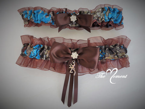 Blue Camo Garter Set with Brown