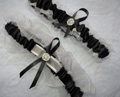 Silver and Black Garter Set