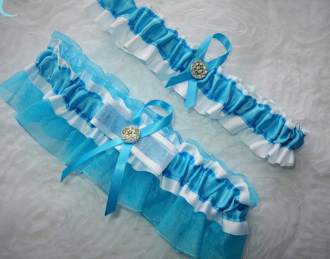 Turquoise and White Garter Set