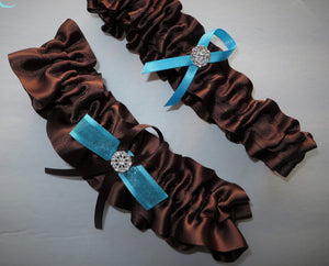 Brown and Turquoise Garter Set