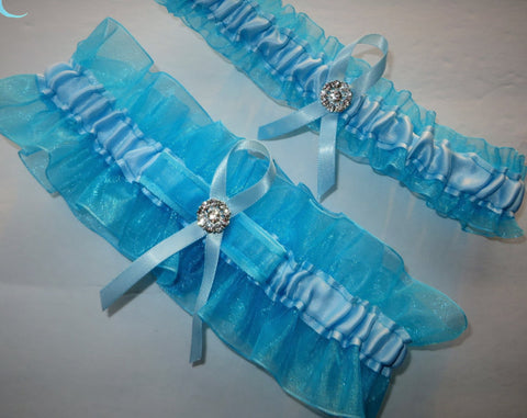 Turquoise and Light Blue Garter Set