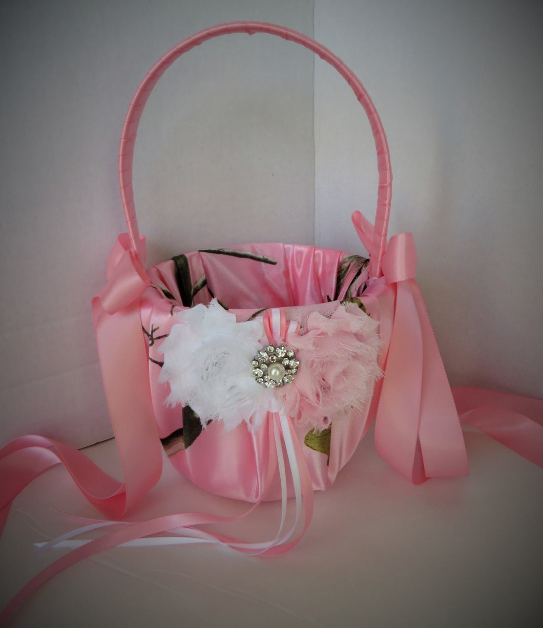 Pink Realtree Camo Flower Girl Basket The Moment Wedding Boutique