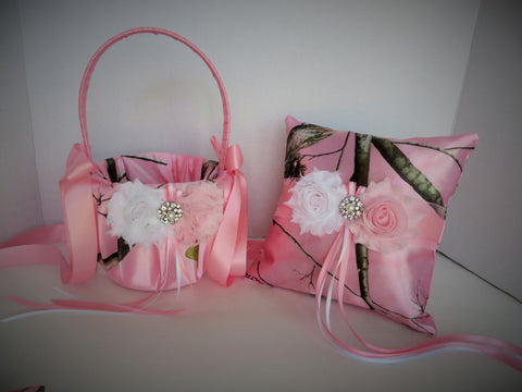 Soft Pink Realtree Camo with White and Light Pink Flowers Wedding Flower Girl Basket and/or Ring Pillow