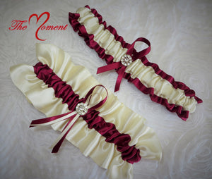 Ivory and Burgundy Red Garter Set, Wedding Garter, Bridal Garter, Prom Garter, Costume Garter, Ivory Garter