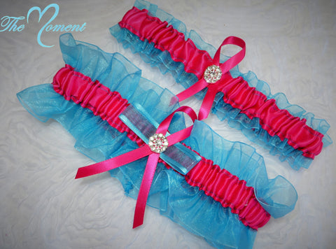 Turquoise and Hot Pink Garter Set