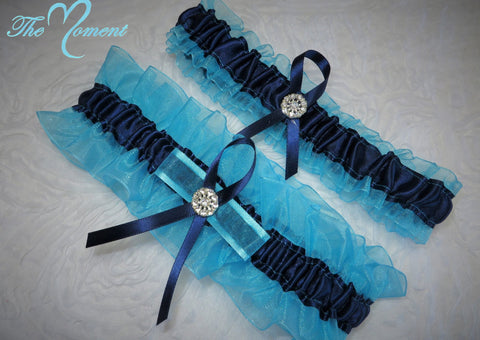 Turquoise and Navy Blue Garter Set