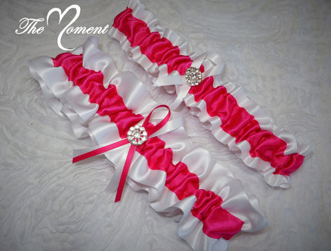 Fuchsia and White Garter Set, Garter Set, Ribbon Garter, Prom Garter, White Garter, Bridal Garter, Wedding Garter