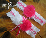 Deer Head Garter, Hot pink Garter, White and Hot Pink Garter, Pink Deer Head