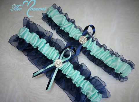 Navy Blue and Aqua Garter Set, Ribbon Garter, Prom Garter, Bridal Garter, Wedding Garter, Aqua Garter