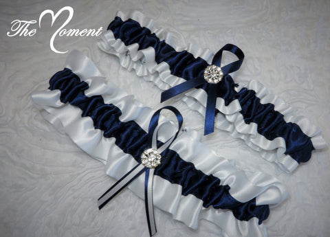Navy Blue and White Garter Set