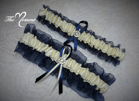 Navy Blue and Ivory Garter Set, Ribbon Garter, Prom Garter, Bridal Garter, Wedding Garter, Navy Blue Garter