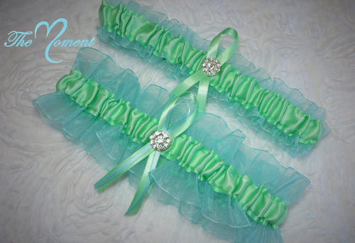 Aqua and Mint Green Garter Set