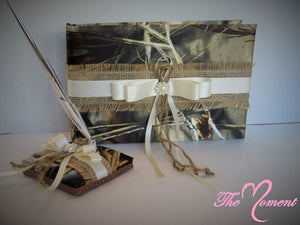 Burlap Guest Book and Pen Set with Purple