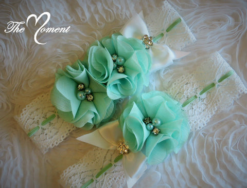 White and Mint Green Stretch Lace Garter Set
