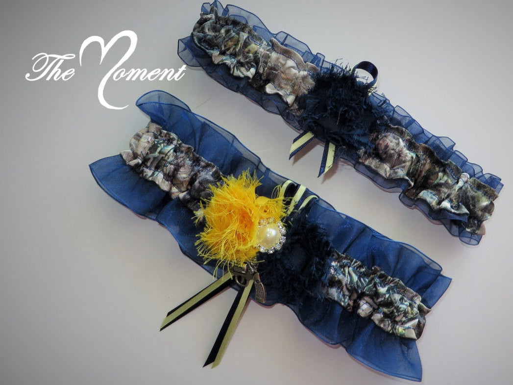 Camo Garter Set with Navy Blue and Yellow, Navy Blue and Yellow Garter