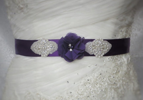 Purple Dress Sash, Pick your Color