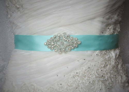 Aqua Satin Sash, Aqua Wedding sash, Dress sash, customize dress sash