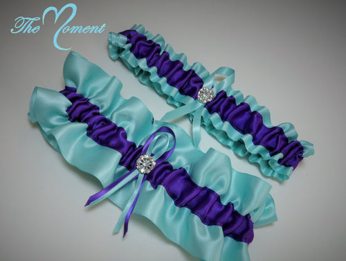 Aqua and Purple Garter Set