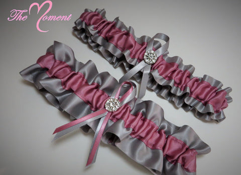 Silver and Rosy Mauve Garter Set