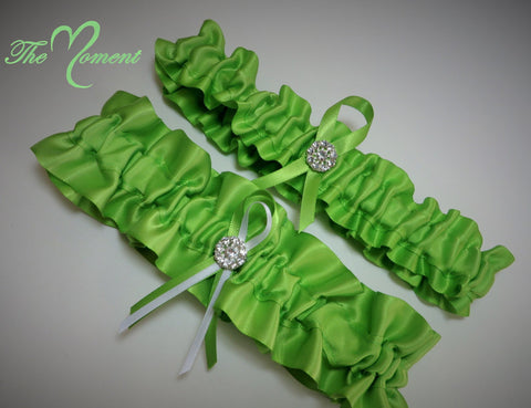 Lime Green Garter Set, Bridal Garter, Prom Garter, Costume Garter, Wedding Garter, Green Garter