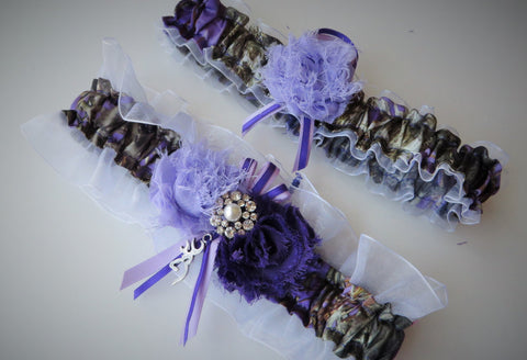 Purple Camo Wedding Garter Set
