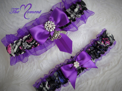 Muddy Girl Camo Garter Set, Purple Garter, Wedding Garter, Prom Garter, Bridal Garter, Purple camo