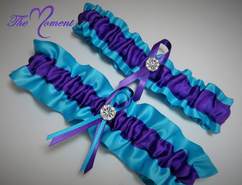 Turquoise and Purple Garter Set