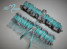 Load image into Gallery viewer, Aqua and Silver Garter Set