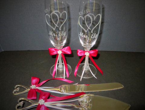Personalized Wedding Toasting Glasses and Serving Set