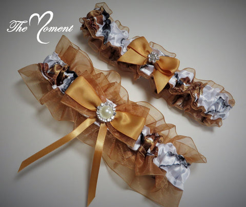 White Camo Garter with Gold
