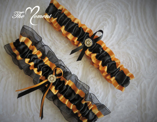 Black and Gold Garter Set