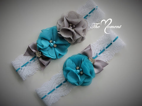 Turquoise and Gray Garter Set