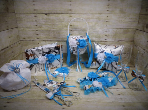 Blue and Aqua Ribbon White True Timber Snowfall Camo Wedding Set