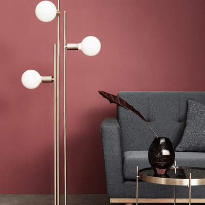 FLOOR LAMP W/BULB, BRASS
