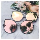 Rose Gold On Black Mirrored Sunglasses