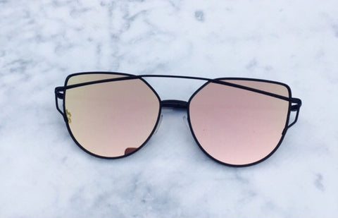Rose Gold On Black Mirrored Sunglasses - Kara and Kate