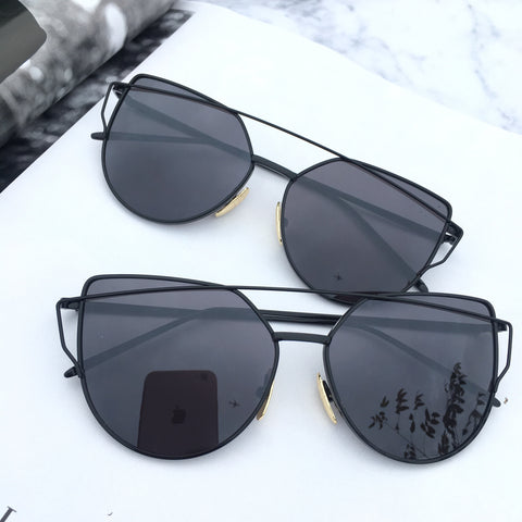 Black On Black Mirrored Sunglasses - Kara and Kate