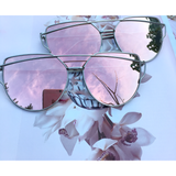 Rose Gold On Silver Mirrored Sunglasses