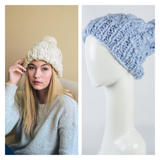 Sky Blue Chunky Knit Pom Pom Beanie - Kara and Kate
