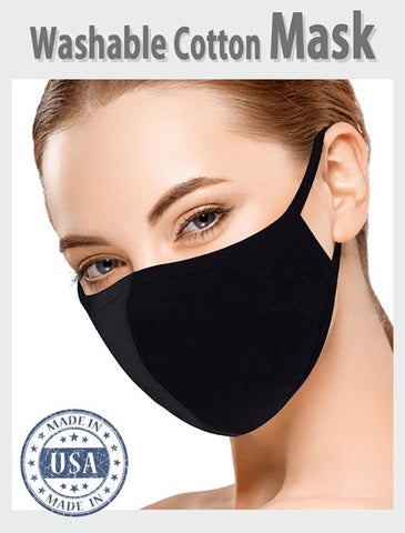 Black Cotton Face Mask - Kara and Kate