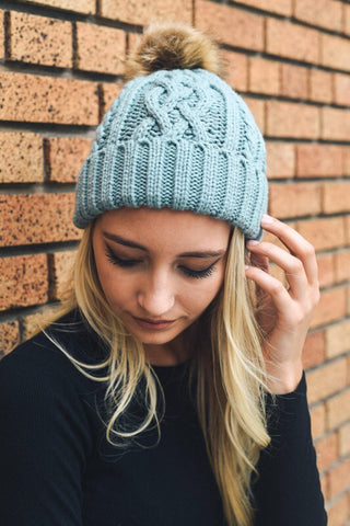 Mint Cable Knit Pom Pom Beanie