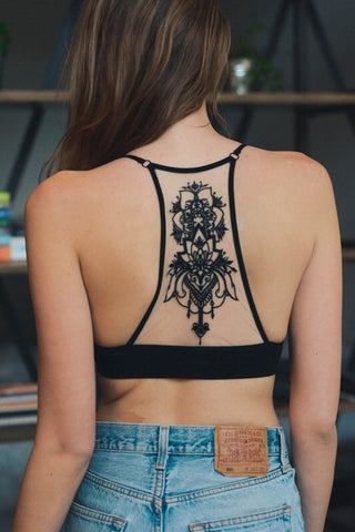 Tattoo Mesh Razorback Bralette - Kara and Kate