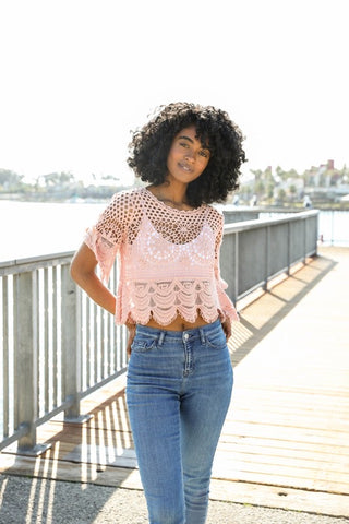 Rose Crochet Crop Top - Kara and Kate