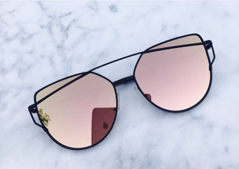 0539d09c315 Rose Gold On Black Mirrored Sunglasses – Kara and Kate